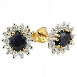 Goldmaid Damen-Ohrstecker 585 Gelbgold 2 Safir blau 28 Diamanten -