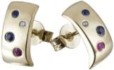 Goldmaid Damen-Ohrstecker Color Feeling 375 Gelbgold 2 Rubine 4 Saphire 2 Diamanten 0,01 ct. -