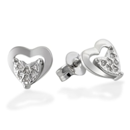 Goldmaid Damen-Ohrstecker Herz 585 Weißgold 12 Diamanten 0,06 ct. He O5707WG -