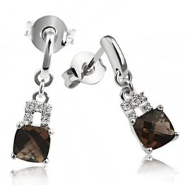 Goldmaid Ohrstecker 375 Weißgold 2 Rauchquarz 10 Diamanten Fa O3813WGB -