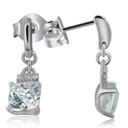 Goldmaid Ohrstecker 375 Weißgold Aquamarin 10 Diamanten Fa O3813WG375 -