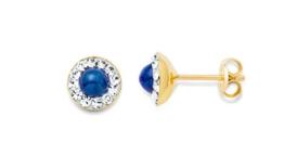Miore Damen-Ohrstecker 375 Gelbgold 2 Saphire blau 24 Swarovski-Kristalle farblos 7 mm -