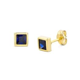 Miore Damen-Ohrstecker 375 Gelbgold Saphir blau Quadratschliff -