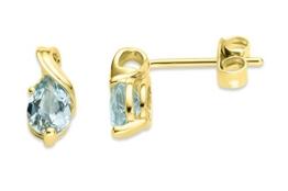Miore Damen-Ohrstecker 375 Gelbgold Topas blau Tropfenschliff -