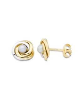 Miore Damen-Ohrstecker 9 Karat 375 Gelbgold knot weiße Perlen MA9005E -