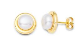 Miore Damen-Ohrstecker 9 Karat (375) Gelbgold Perlen 7 mm MA9075E -