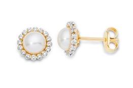 Miore Damen-Ohrstecker 9 Karat (375) Gelbgold Perlen und Zirconia MA9071ZE -