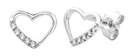 Miore Damen-Ohrstecker 925 Sterling Silber Herz Brillanten 0.07ct -