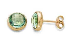 Miore Damen-Ohrstecker Ohrringe 9 Karat ( 375 ) Amethyst Quartz 4.0 ct Gelbgold Quarz grün Rundschliff - MNA9044E -
