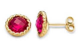 Miore Damen-Ohrstecker Ohrringe 9 Karat ( 375 ) Granat Stein 6.0 Ct Gelbgold Quarz rot Rundschliff - MNA9050E -