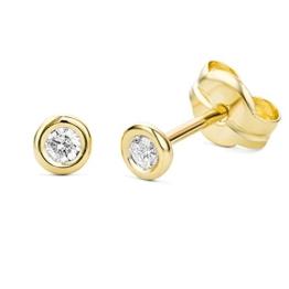 Miore Damen-Ohrstecker Solitär 375 Gelbgold Diamant (0.1 ct) weiß Rundschliff -