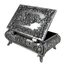 Unendlich U Luxus Synthetik Schmuckkoffer Retro Style Antique Rectangle Form und Rose Schmuckkästchen für Damen,Reines Zinn-Schmuckstück,Silber -