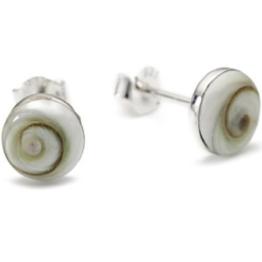 Vinani Damen-Ohrstecker Shiva-Auge runder Knopf Sterling Silber 925 Ohrringe OSAA -