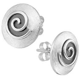 Vinani Ohrstecker gewölbt gebürstet Spirale schwarz emailliert Sterling Silber 925 Ohrringe 2OSG -