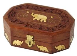 Zap Impex® Holz Schöne Hand geschnitzte Palisander Vintage-Look Schmuckschatulle / Schmuck-Veranstalter mit feinen Messing Inlay in Elefanten Weihnachtsgeschenk (14 x 9,5 x 5,5) cm -